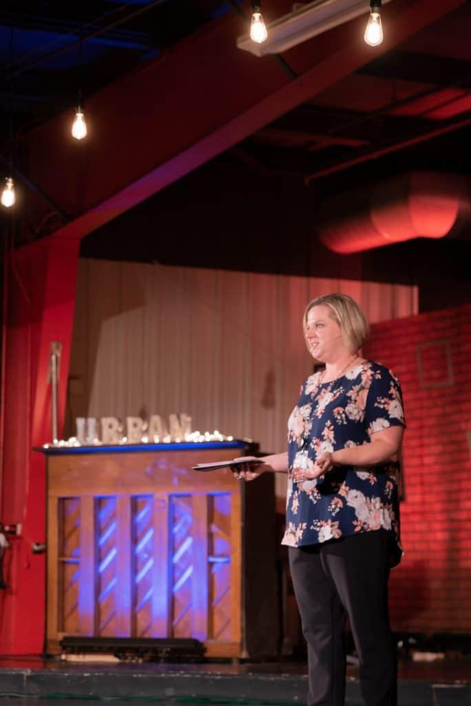 Principal Laura Batson of Pittman Elementary gives a keynote speech at the 2019 Urban Summit