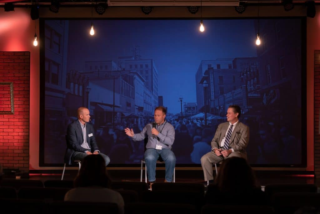Scott Bybee (left), Jason Leininger (center), and Sterling Huff (right) have a panel discussion on the role of Business and building a stronger Sprngfield.